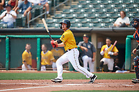 Matt Thaiss (6) of the Salt Lake Bees at bat against the Las Vegas Aviators at Smith's Ballpark on July 25, 2021 in Salt Lake City, Utah. The Aviators defeated the Bees 10-6. (Stephen Smith/Four Seam Images)