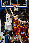Real Madrid´s Kevin Rivers and Galatasaray´s Pocius during 2014-15 Euroleague Basketball match between Real Madrid and Galatasaray at Palacio de los Deportes stadium in Madrid, Spain. January 08, 2015. (ALTERPHOTOS/Luis Fernandez)