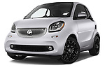 Stock pictures of low aggressive front three quarter view of 2017 Smart fortwo prime 3 Door micro car