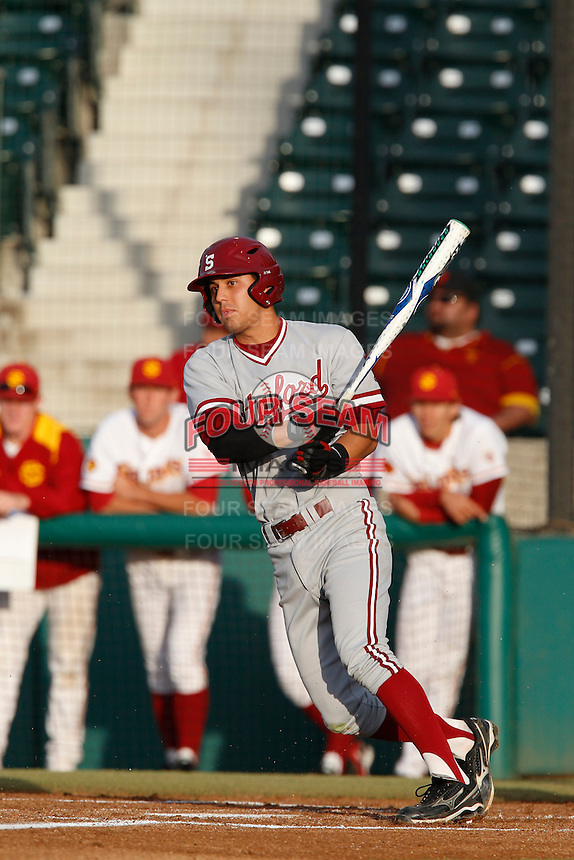 Lonnie Kauppila #8 of the Stanford Cardinal bats against the USC Trojans at Dedeaux Field on April 5, 2013 in Los Angeles, California. (Larry Goren/Four Seam Images)