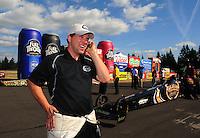 Aug. 7, 2011; Kent, WA, USA; NHRA top fuel dragster driver Del Worsham celebrates after winning the Northwest Nationals at Pacific Raceways. Mandatory Credit: Mark J. Rebilas-