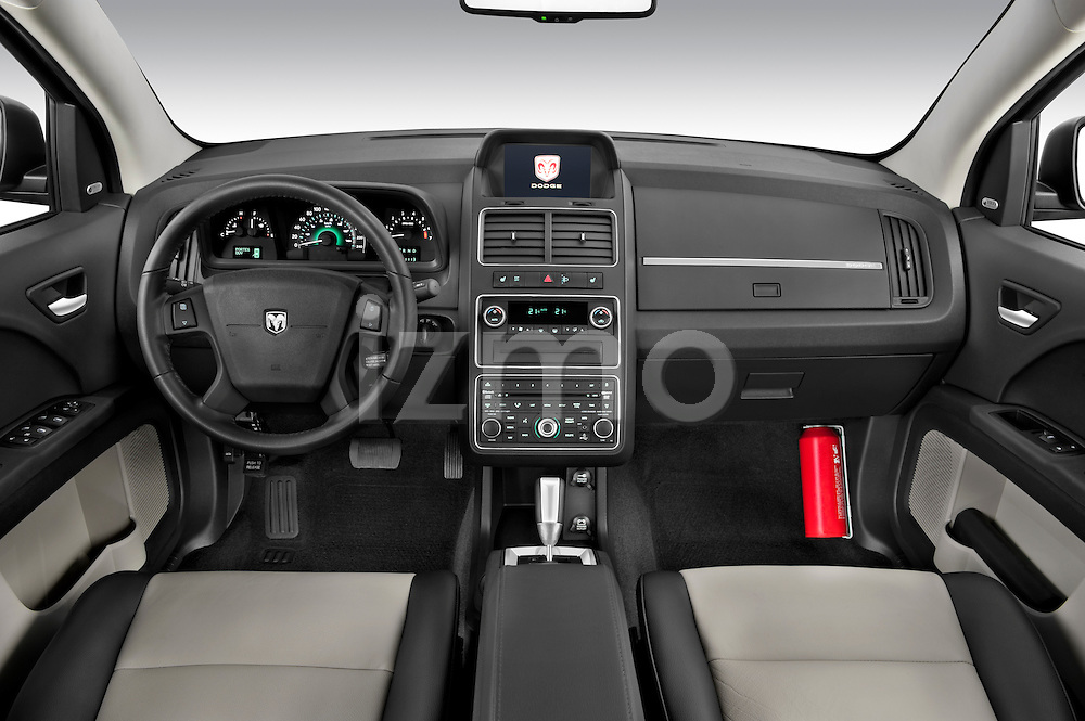 Straight dashboard view of a 2009 Dodge Journey.