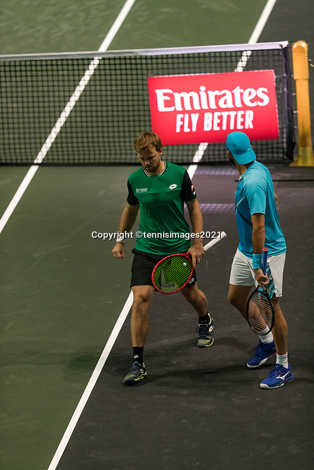 Rotterdam, The Netherlands, 4 march  2021, ABNAMRO World Tennis Tournament, Ahoy, Second round doubbles: Keving Krawietz (GER) / Horia Tecau (ROU).<br /> Photo: www.tennisimages.com/