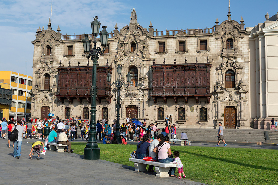 Lima, Peru.  Archbishop's Palace, on the Plaza de Armas.
