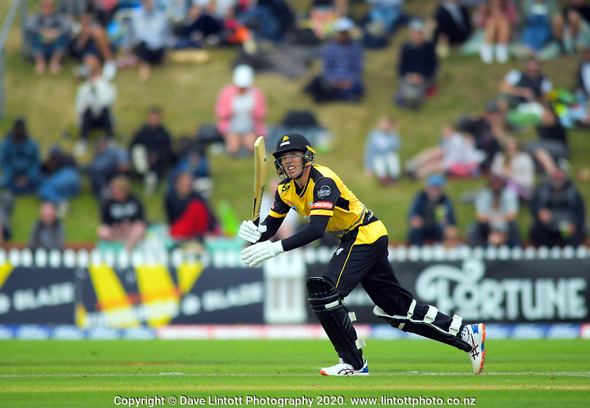 Logan Van Beek bats during the Dream11 Super Smash cricket final between the Wellington Firebirds and Auckland Aces at Basin Reserve in Wellington, New Zealand on Sunday, 19 January 2020. Photo: Dave Lintott / lintottphoto.co.nz