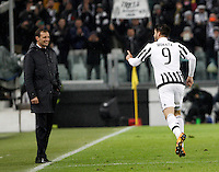 Calcio, Serie A: Juventus vs Inter. Torino, Juventus Stadium, 28 February 2016.<br /> Juventus Alvaro Morata, right, celebrates after scoring on a penalty kick  coach as Massimiliano Allegri smiles during the Italian Serie A football match between Juventus and Inter at Turin's Juventus Stadium, 28 February 2016.<br /> UPDATE IMAGES PRESS/Isabella Bonotto