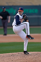 Relief pitcher Alex Vera (6) of the Illinois Fighting Illini in a game against the Ohio State Buckeyes on Friday, March 5, 2021, at Fluor Field at the West End in Greenville, South Carolina. (Tom Priddy/Four Seam Images)