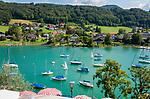 Oesterreich, Salzburger Land, Flachgau, Mattsee: Blick vom Schloss-Cafe ueber den Mattsee | Austria, Salzburger Land, region Flachgau, Mattsee: view from Castle-Cafe across Lake Mattsee