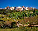 Split-rail fence along Dallas Divide, Sneffels Range, San Juan Mountains, Telluride, Colorado, USA John guides custom photo tours in the Sneffels Range and throughout Colorado.