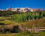 Split-rail fence along Dallas Divide, Sneffels Range, San Juan Mountains, Telluride, Colorado, USA John guides custom photo tours in the Sneffels Range and throughout Colorado.
