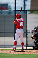 GCL Phillies West Keaton Greenwalt (16) bats during a Gulf Coast League game against the GCL Yankees East on August 3, 2019 at the Carpenter Complex in Clearwater, Florida.  The GCL Yankees East defeated the GCL Phillies West 4-0, the second game of a doubleheader.  (Mike Janes/Four Seam Images)