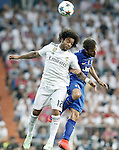 Real Madrid's Marcelo Vieira (l) and Juventus' Claudio Marchisio during Champions League 2014/2015 Semi-finals 2nd leg match.May 13,2015. (ALTERPHOTOS/Acero)
