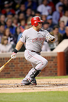 April 16, 2008:  Cincinnati Reds starting catcher Javier Valentin (17) at bat against the Chicago Cubs at Wrigley Field in Chicago, IL. Photo by: Chris Proctor/Four Seam Images