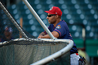 Peoria Chiefs hitting coach Russ Chambliss (30) during batting practice before a game against the Bowling Green Hot Rods on September 15, 2018 at Bowling Green Ballpark in Bowling Green, Kentucky.  Bowling Green defeated Peoria 6-1.  (Mike Janes/Four Seam Images)
