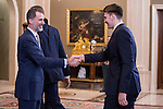 King Felipe VI of Spain and Luka Doncic during audience to the winner of basketball King's Cup 2017, Real Madrid at Zarzuela Palace in Madrid, Spain. March 06, 2017. (ALTERPHOTOS/BorjaB.Hojas)
