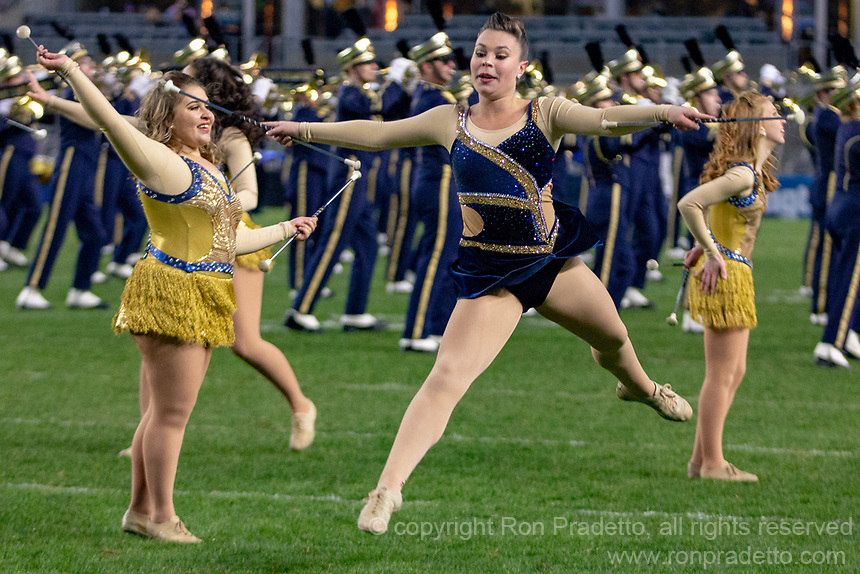 The Pitt Panther Golden Girls majorette team perform at halftime. The Pitt Panthers defeated the Virginia Tech Hokies 52-22 on November 10, 2018 at Heinz Field in Pittsburgh, Pennsylvania.