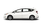 Car Driver side profile view of a 2015 Toyota Prius v Four 4 Door Hatchback Side View