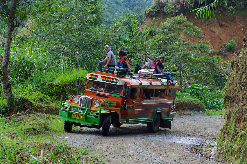 A Jeepney in the Banaue Mountain Province Rice Terraces Philippines