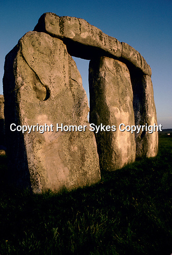 Stonehenge Wiltshire June 21st dawn sunrise. at the summer solstice. 1970s.