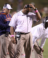 Oct. 22, 2011 - Charlottesville, Virginia - USA; Virginia Cavaliers head coach Mike London reacts during an NCAA football game against the North Carolina State Wolfpack at the Scott Stadium. NC State defeated Virginia 28-14. (Credit Image: © Andrew Shurtleff