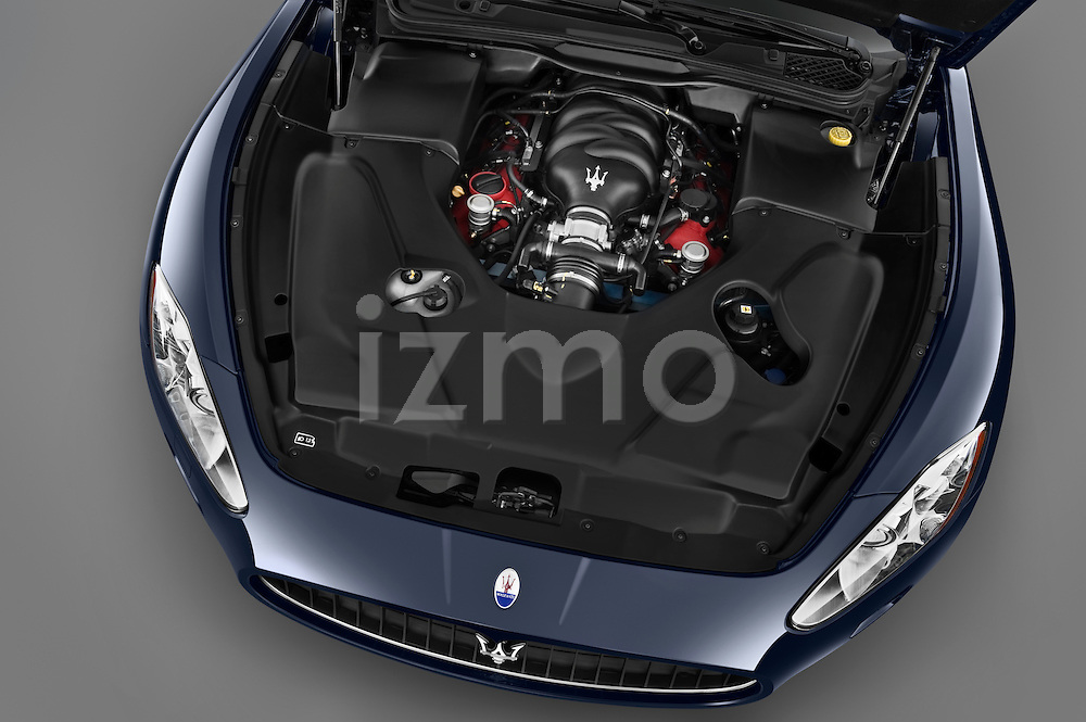 High angle engine detail of a 2010 Maserati Granturismo S Automatic Coupe