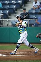 Austin Grebeck (3) of the Everett AquaSox bats against the Boise Hawks at Everett Memorial Stadium on July 21, 2017 in Everett, Washington. Boise defeated Everett, 10-4. (Larry Goren/Four Seam Images)