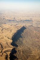 Aerial views of cliffs on the Arabien Peninsula near Sana'a, Yemen
