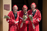 STANFORD, CA - April 16, 2016:  Stanford seniors Rachel Johnson, Gurpreet Sohi and Anna Yelizarova are recognized in a pregame ceremony before a game against USC at Avery Aquatic Center.