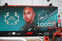 26th September 2021; Sochi, Russia; F1 Grand Prix of Russia, Race Day: GIant display showing 100th win for 44 Lewis Hamilton GBR, Mercedes-AMG Petronas F1 Team