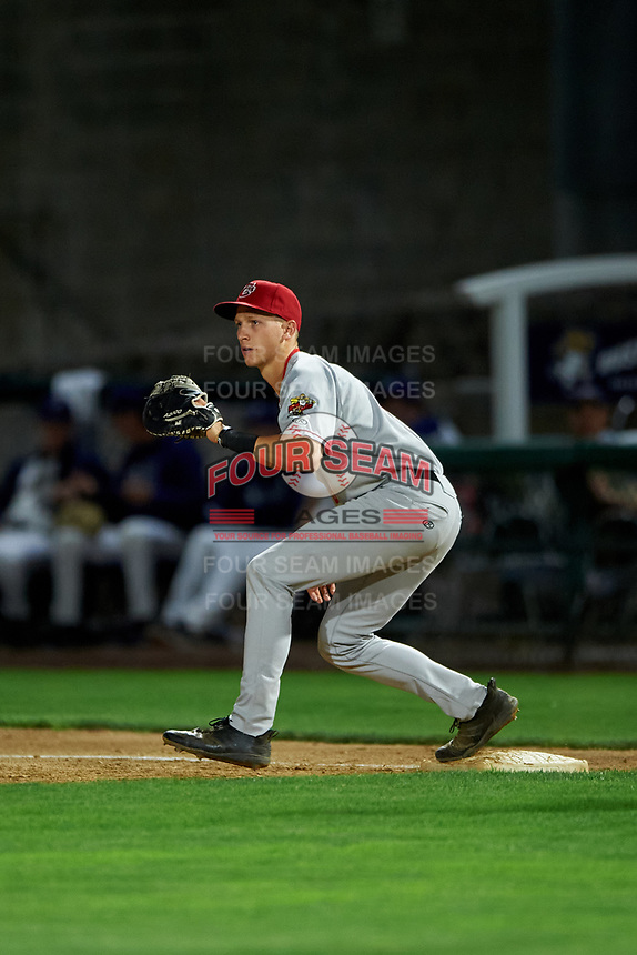 Vancouver Canadians first baseman Trevor Schwecke (9) during a Northwest League game against the Tri-City Dust Devils at Gesa Stadium on August 21, 2019 in Pasco, Washington. Vancouver defeated Tri-City 1-0. (Zachary Lucy/Four Seam Images)