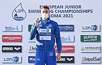 100m Butterfly Men<br /> Podium<br /> MILADINOV Josif BUL Bulgaria Gold Medal<br /> LEN European Junior Swimming Championships 2021<br /> Rome 2179<br /> Stadio Del Nuoto Foro Italico <br /> Photo Andrea Masini / Deepbluemedia / Insidefoto