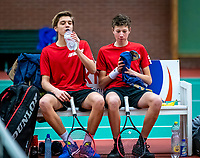 Wateringen, The Netherlands, December 15,  2019, De Rhijenhof , NOJK juniors doubles 12/14/16  years, Brian Bozemoj (NED) and Stijn Paardekooper (NED) (R)<br /> Photo: www.tennisimages.com/Henk Koster