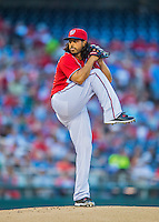 28 May 2016: Washington Nationals starting pitcher Gio Gonzalez on the mound against the St. Louis Cardinals at Nationals Park in Washington, DC. The Cardinals defeated the Nationals 9-4 to take a 2-games to 1 lead in their 4-game series. Mandatory Credit: Ed Wolfstein Photo *** RAW (NEF) Image File Available ***
