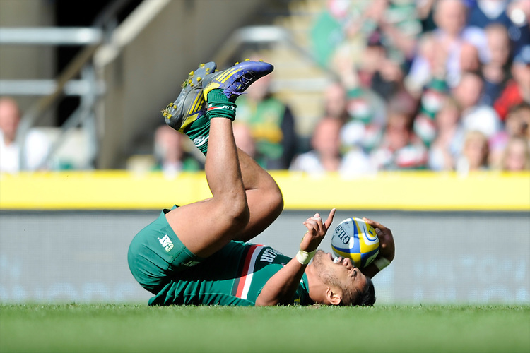 Manusamoa Tuilagi of Leicester Tigers scores a try during the Aviva Premiership Final between Leicester Tigers and Northampton Saints at Twickenham Stadium on Saturday 25th May 2013 (Photo by Rob Munro)