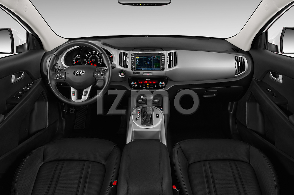 Stock photo of straight dashboard view of 2016 KIA Sportage SX 5 Door Suv Dashboard