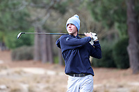 PINEHURST, NC - MARCH 02: Ryan Gerard of the University of North Carolina tees off on the third hole at Pinehurst No. 2 on March 02, 2021 in Pinehurst, North Carolina.