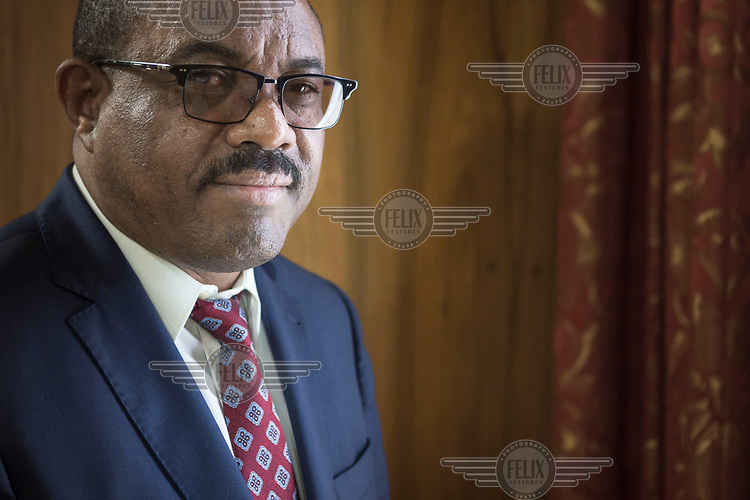 Prime Minister of Ethiopia, Hailemariam Desalegn at his palace in the capital.