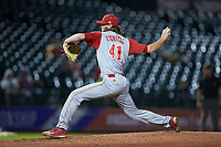 North Carolina State Wolfpack relief pitcher Joe O'Donnell (41) in action against the North Carolina Tar Heels in Game Twelve of the 2017 ACC Baseball Championship at Louisville Slugger Field on May 26, 2017 in Louisville, Kentucky. The Tar Heels defeated the Wolfpack 12-4. (Brian Westerholt/Four Seam Images)