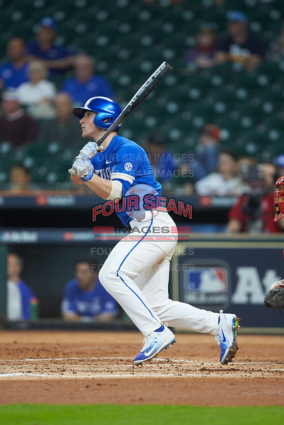 Ryan Shinn (44) of the Kentucky Wildcats follows through on his swing against the Louisiana Ragin' Cajuns in game seven of the 2018 Shriners Hospitals for Children College Classic at Minute Maid Park on March 4, 2018 in Houston, Texas.  The Wildcats defeated the Ragin' Cajuns 10-4. (Brian Westerholt/Four Seam Images)
