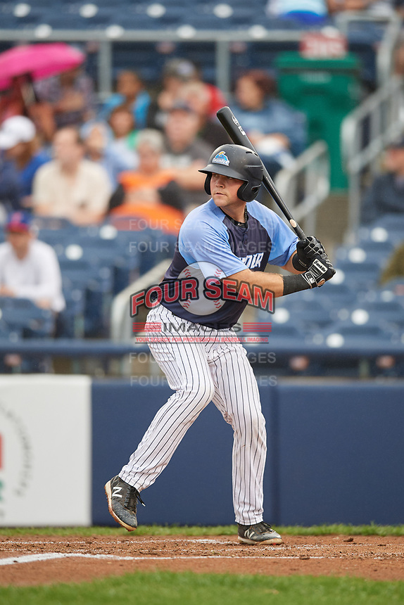 Trenton Thunder catcher Ryan Lidge (43) at bat during a game against the New Hampshire Fisher Cats on August 19, 2018 at ARM & HAMMER Park in Trenton, New Jersey.  New Hampshire defeated Trenton 12-1.  (Mike Janes/Four Seam Images)