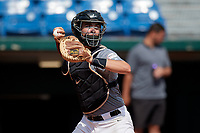 Josh Randall (23) of Capistrano Valley Christian High School in San Juan Capistrano, CA during the Perfect Game National Showcase at Hoover Metropolitan Stadium on June 17, 2020 in Hoover, Alabama. (Mike Janes/Four Seam Images)