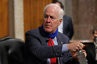United States Senator John Cornyn (Republican of Texas), uses hand sanitizer before a US Senate Judiciary Committee business meeting on Capitol Hill in Washington, Thursday, June 11, 2020. <br /> Credit: Carolyn Kaster / Pool via CNP/AdMedia