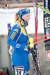 MARTELL-VAL MARTELLO, ITALY - FEBRUARY 02: ADOLFSSON Kim (SWE) after the Women 7.5 km Sprint at the IBU Cup Biathlon 6 on February 02, 2013 in Martell-Val Martello, Italy. (Photo by Dirk Markgraf)