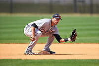 Detroit Tigers Daniel Pinero (34) during practice before a minor league Spring Training game against the New York Yankees on March 22, 2017 at the Yankees Complex in Tampa, Florida.  (Mike Janes/Four Seam Images)