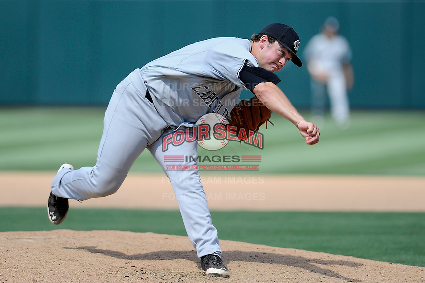 Starting pitcher Wil Crowe (37) of the South Carolina Gamecocks delivers a pitch in an NCAA Division I Baseball Regional Tournament game against the Campbell Camels on Sunday, June 1, 2014, at Carolina Stadium in Columbia, South Carolina. USC won 9-0, and Crow won the complete game. (Tom Priddy/Four Seam Images)