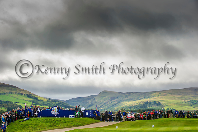 Jordan Speith tees off from the scenic 12th tee during a practice session at Gleneagles Golf Course, Perthshire. Photo credit should read: Kenny Smith/Press Association Images.