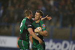 Eoin Griffin is first to congratulate Matt Healy after the Connacht wing scores the first try of the match.<br /> RaboDirect Pro 12<br /> Cardiff Blues v Connacht<br /> Cardiff Arms Park<br /> 13.09.13<br /> <br /> ©Steve Pope-SPORTINGWALES