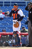 Binghamton Mets catcher Kai Gronauer #10 during a game against the Akron Aeros at NYSEG Stadium on April 7, 2012 in Binghamton, New York.  Binghamton defeated Akron 2-1.  (Mike Janes/Four Seam Images)
