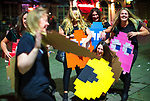 © Joel Goodman - 07973 332324 . 26/12/2017. Wigan, UK. Pac Man . Revellers in Wigan enjoy Boxing Day drinks and clubbing in Wigan Wallgate . In recent years a tradition has been established in which people go out wearing fancy-dress costumes on Boxing Day night . Photo credit : Joel Goodman