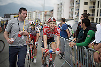 Tim Wellens (BEL/Lotto-Soudal) doesn't looked too troubled after the stage where he crashed in the feedzone<br /> <br /> stage 19: St-Jean-de-Maurienne - La Toussuire / Les Sybelles   (138km)<br /> Tour de France 2015